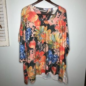 Soft Surroundings Floral Sweater Tunic Top Size 2X